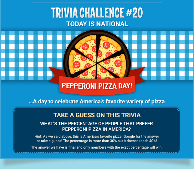 TODAY IS NATIONAL PEPPERONI PIZZA DAY! …A day to celebrate America's favorite variety of pizza - TAKE A GUESS ON THIS TRIVIA