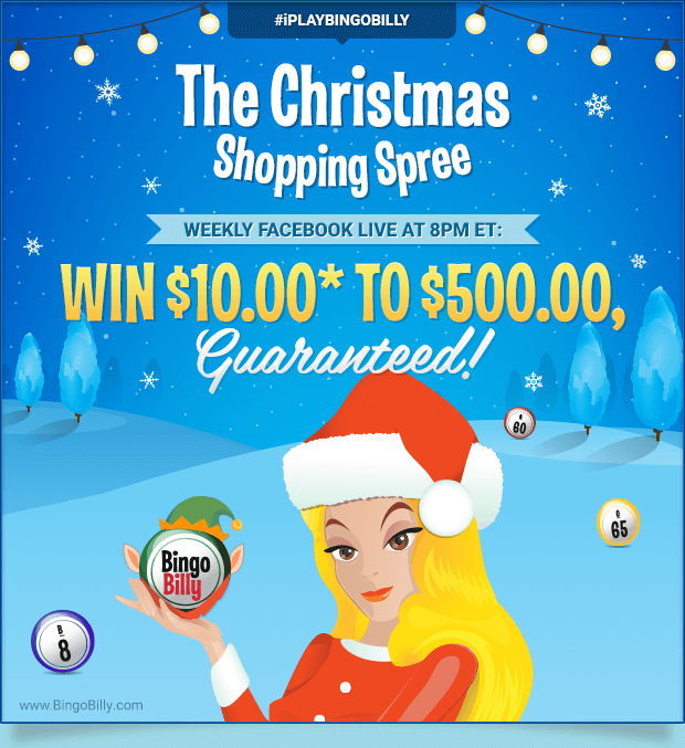 CHRISTMAS SHOPPING SPREE WEEKLY FACEBOOK LIVE AT 8PM ET: WIN $10.00* TO $500.00, GUARANTEED!